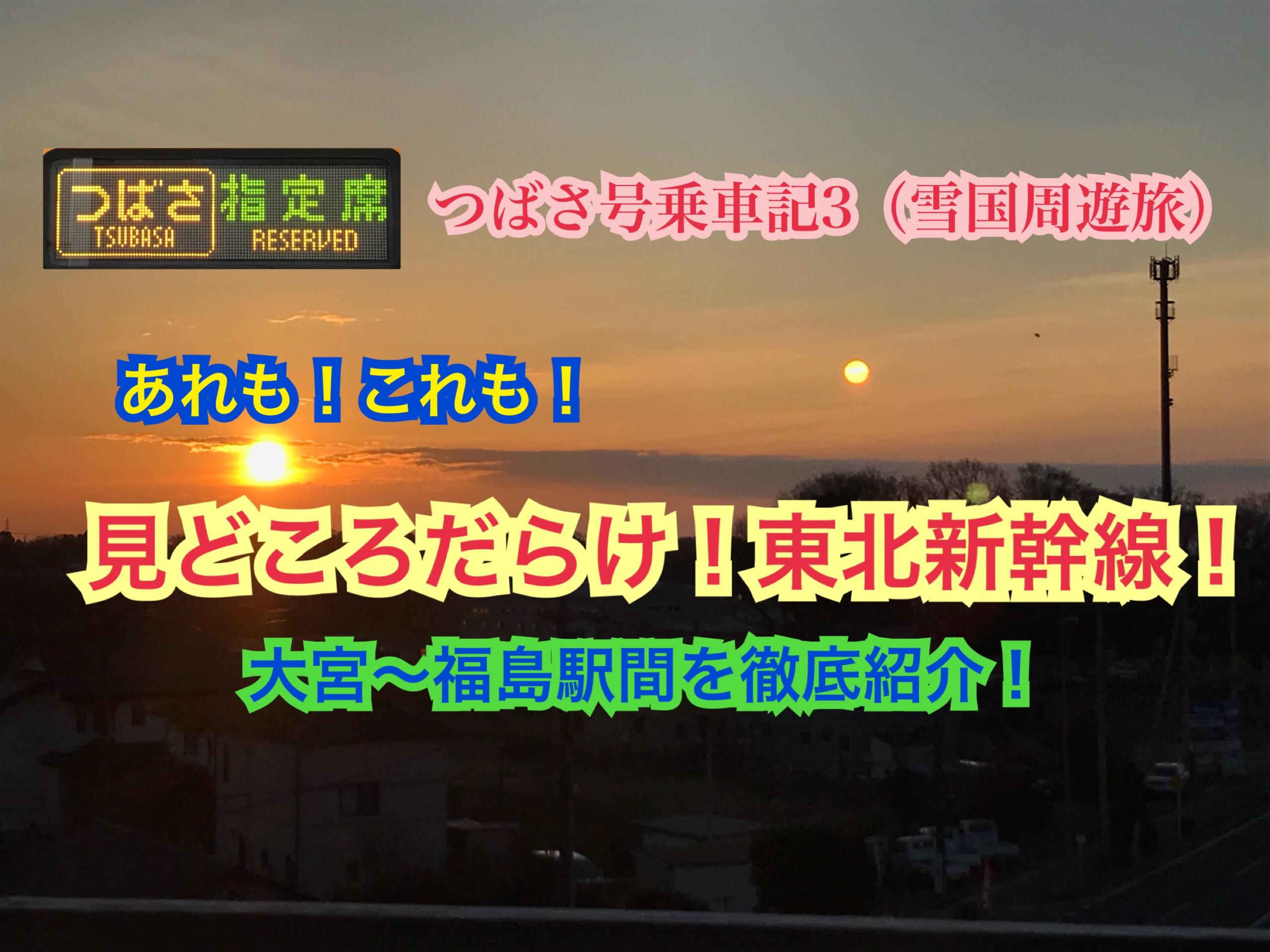 見所ありすぎ!東北新幹線大宮〜福島を徹底紹介!つばさ号乗車記3【雪国周遊旅】